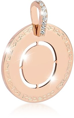 Rebecca Rose Gold-plated Bronze & Zirconia O Charm W/Rhodium-plated Necklace