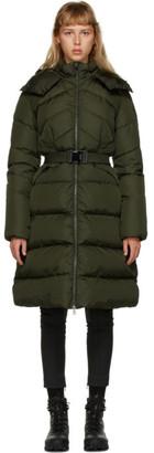 Moncler Khaki Down Belted Agot Coat