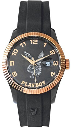 Playboy EVEN42GB - Evening - Unisex Analogue Quartz Watch with Black Dial and Black Silicone Strap