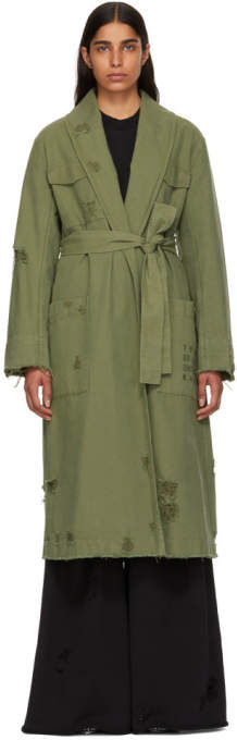 Alexander Wang Green Pajama Utility Trench Coat