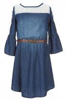 My Michelle Big Girls 7-16 Belted Lace-Detail Denim Dress