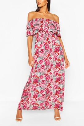 boohoo Rose Print Off The Shoulder Double Layer Maxi Dress