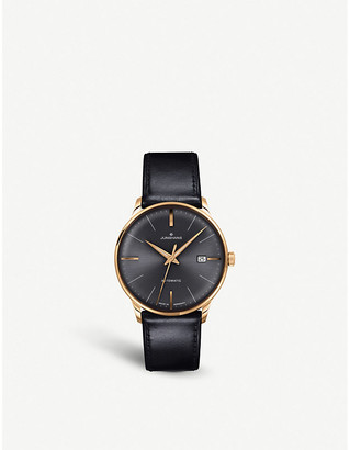 Junghans 027/7513.00 meister classic leather and gold-plated watch
