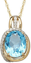 Lord & Taylor 14K Yellow Gold Blue Topaz and Diamond Pendant Necklace