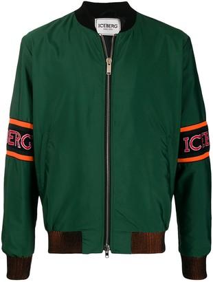 Iceberg Logo Sleeve Bomber Jacket