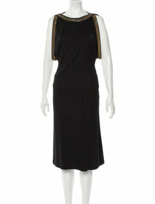 Gucci Bateau Neckline Midi Length Dress Black