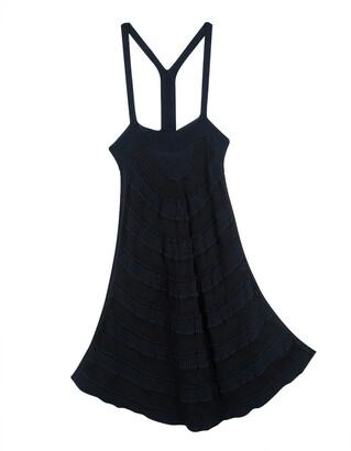 Emporio Armani Navy Blue and Black Striped Chunky Knit Sleeveless Tunic S