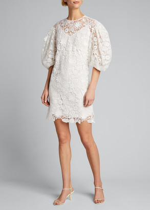 Carolina Herrera Puff-Sleeve Floral Lace Shift Dress