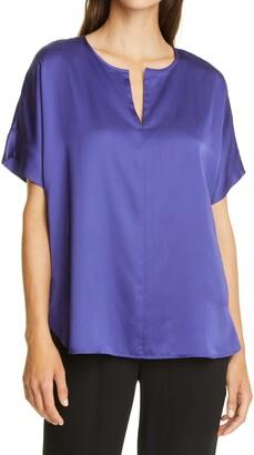 Eileen Fisher Split Neck Silk & Organic Cotton Top
