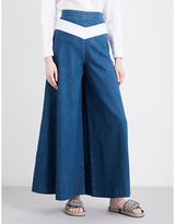 Maje Pako wide-leg high-rise jeans