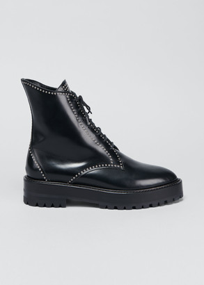 Alaia Grommet Studded Lace-Up Combat Boots