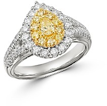 Bloomingdale's Pear-Shaped Yellow & White Diamond Ring in 18K Yellow & White Gold - 100% Exclusive