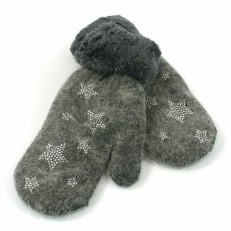 Black Ginger Super Soft Knitted Woollen Mitten Glove with Faux Fur and Star Design (Grey)