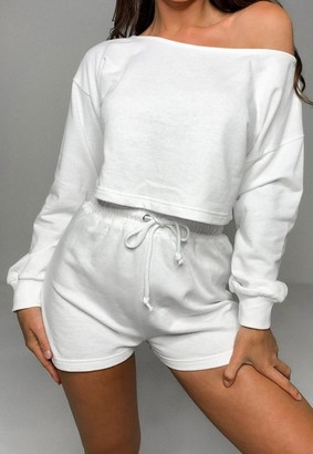 Missguided White Cropped Sweatshirt And Runner Shorts Co Ord Set