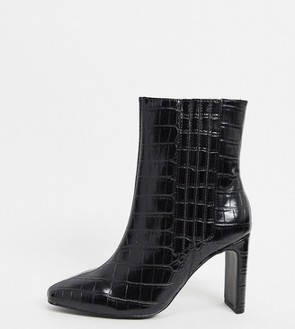 ASOS DESIGN Wide Fit Embark high ankle boots in black croc