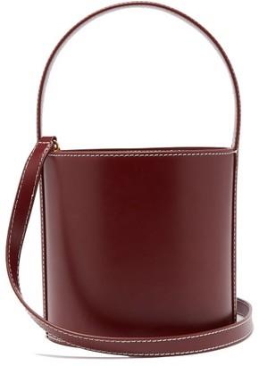 STAUD Bisset Leather Bucket Bag - Womens - Burgundy