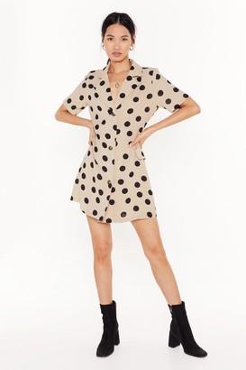 Nasty Gal Womens Polka Dot Your Baby Mini Shirt Dress - beige - 4
