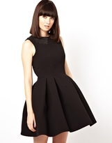 Asos Skater Dress With Leather Laser Cut Collar - Black