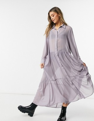 Monki Collina maxi shirt dress in lilac