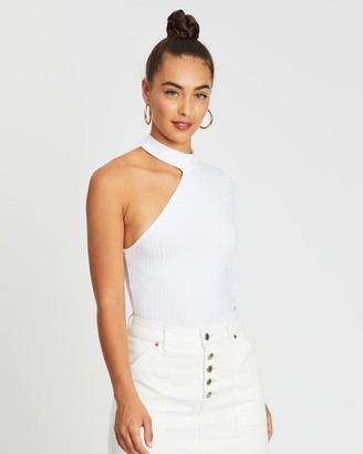 Missguided High Neck Cut-Out One-Shoulder Rib Bodysuit