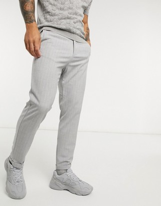 Lockstock alfie pinstripe trouser in grey