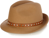 Valentino Rockstud fur-felt trilby hat