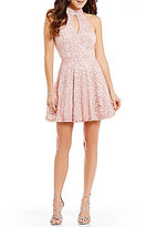 B. Darlin Choker Neckline Lace Skater Dress