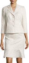 Kay Unger New York 3/4-Sleeve Skirt Suit, Sand