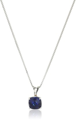 Amazon Collection Sterling Silver Cushion Checkerboard Cut Created Blue Sapphire Pendant Necklace (6mm)