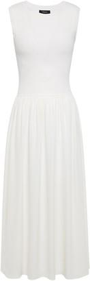 Theory Ribbed-knit And Silk-crepe Midi Dress