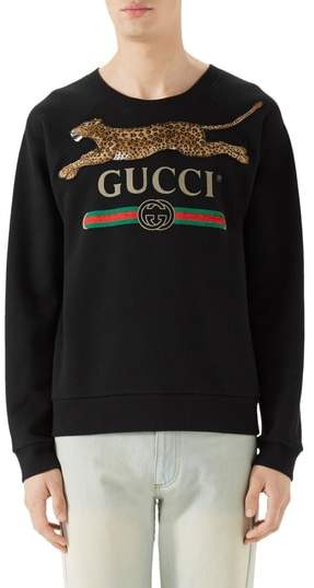 Gucci Cheetah Applique Logo Sweatshirt