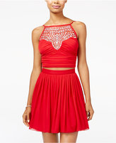 B. Darlin Juniors' 2-Pc. Embellished Halter Fit & Flare Dress