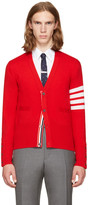Thom Browne Red Classic V-Neck Cardigan