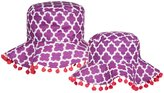 Masala Medallion Mommy & Me Sun Hat Set - Purple-Small