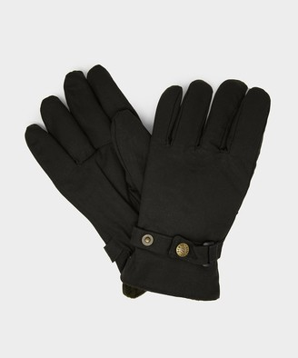 Dents Gloves Dents Exmoor Fleece Lined Waxed Cotton Gloves in Olive