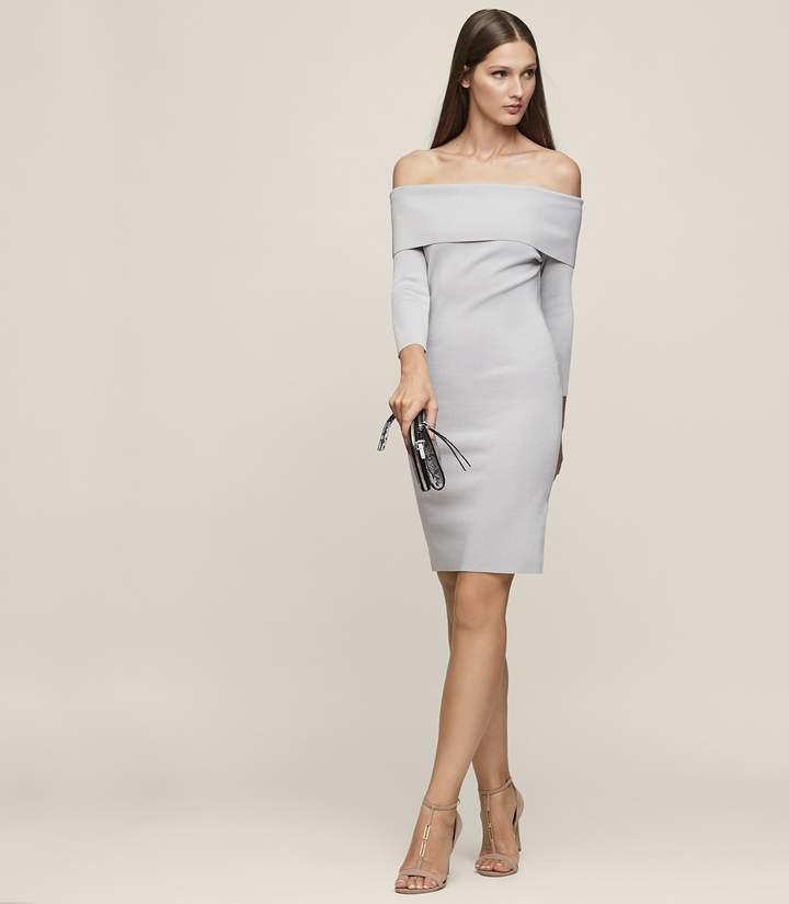 Reiss MADELINE OFF-THE-SHOULDER KNITTED DRESS Silver