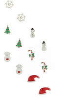 Carole White & Green Christmas Six-Pair Stud Earrings Set