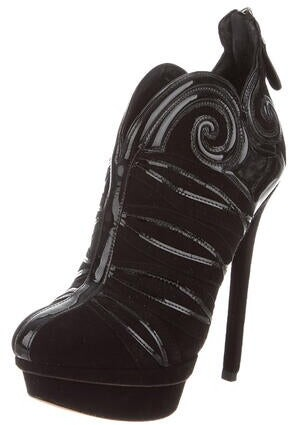 Thumbnail for your product : Brian Atwood Suede Leather Trim Embellishment Boots Black