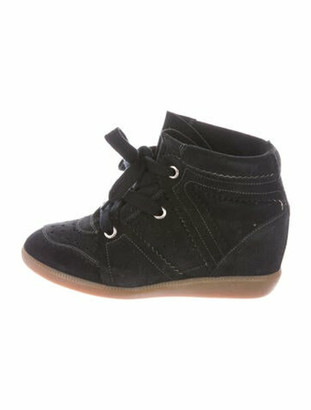 Isabel Marant Suede Scalloped Accent Wedge Sneakers Black