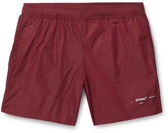 Off-White Off White Mid-Length Logo-Print Shell Swim Shorts