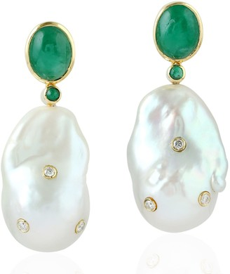 Artisan 18Kt Yellow Gold Natural Emerald Pearl Chinese Diamond Dangle Earring Jewelry Gift For Her