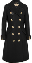 Burberry Leather-trimmed Double-breasted Wool-blend Coat - Black