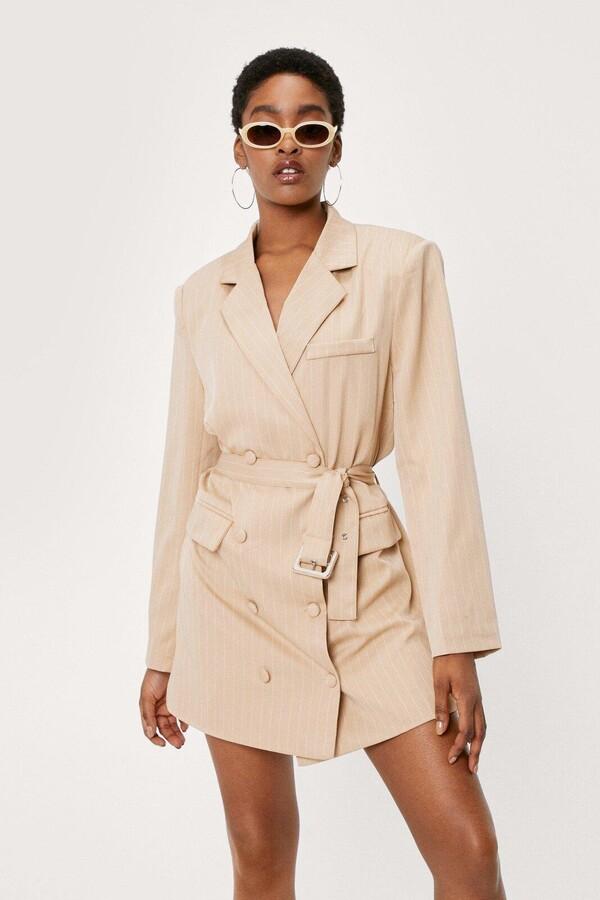 Nasty Gal Womens Pinstripe Belted Blazer Dress - Beige - 4