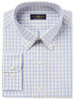 Club Room Men's Big & Tall Classic/Regular Fit Estate Wrinkle Resistant Yellow Blue Triple Check Dress Shirt, Only at Macy's