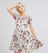 Frock And Frill Petite Floral Embroidered Mini Skater Dress With Cap Sleeves & High Low Hem