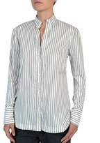 Eleventy Striped Stretch-Cotton Poplin Button-Front Shirt