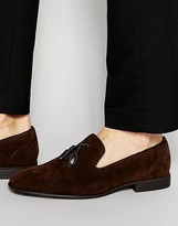 Asos Tassel Loafers in Brown Faux Suede