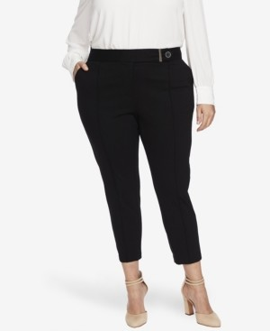 CeCe Women's Plus 2 Pocket Ponte Pant with Front Seam and Button