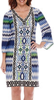 London Times London Style Collection Chevron Print Shift Dress