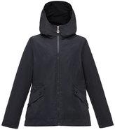 Moncler Derecia Long Hooded Lightweight Jacket, Navy, Size 8-14